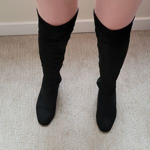 Wild Diva Over The Knee Heeled Suede Boots Size 8